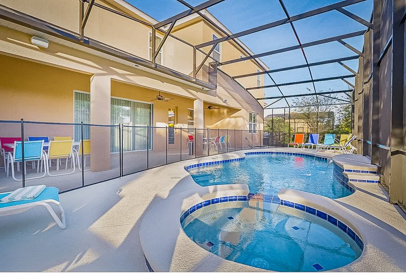 Screened-in pool and spa