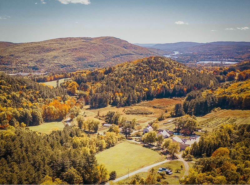 Aerial views of a top Vermont apple orchard