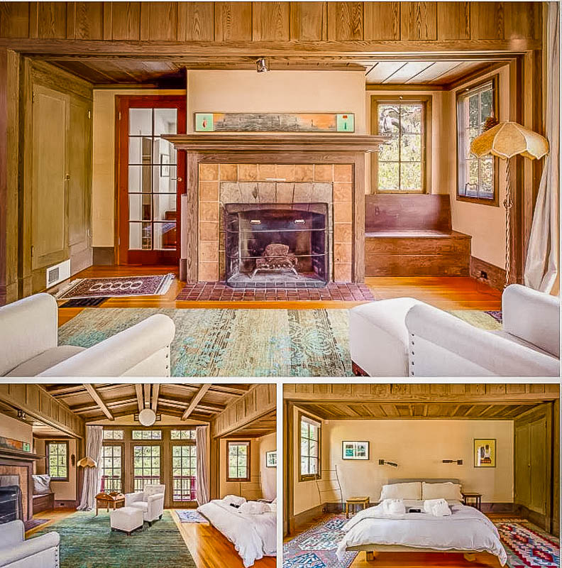 Master bedroom with cozy fireplace