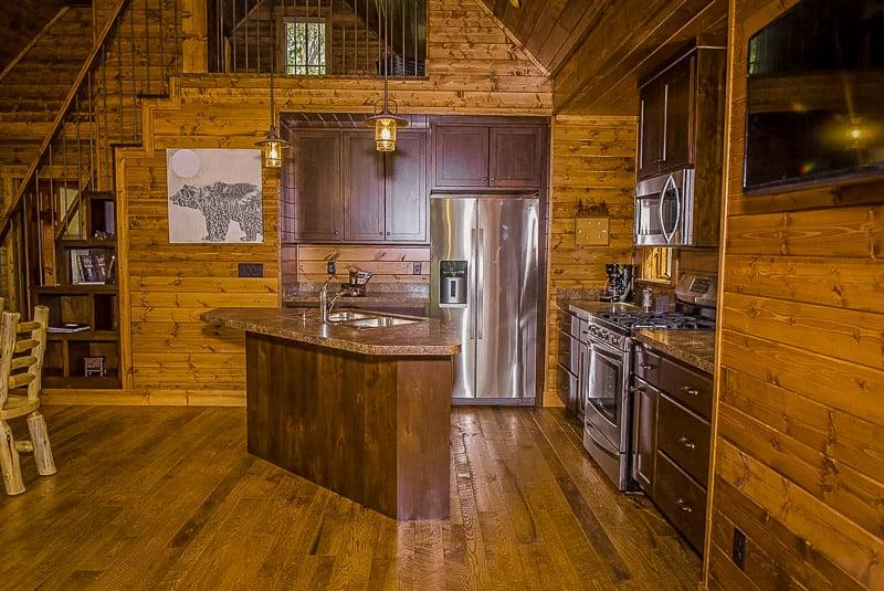 Rustic log cabin-style decor