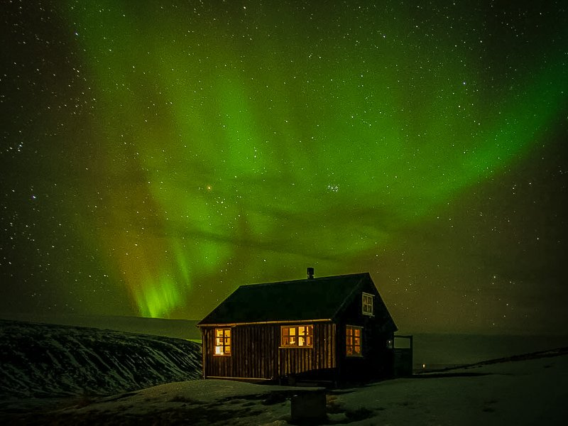 Get a front row seat of the Aurora Borealis from this Iceland cabin rental