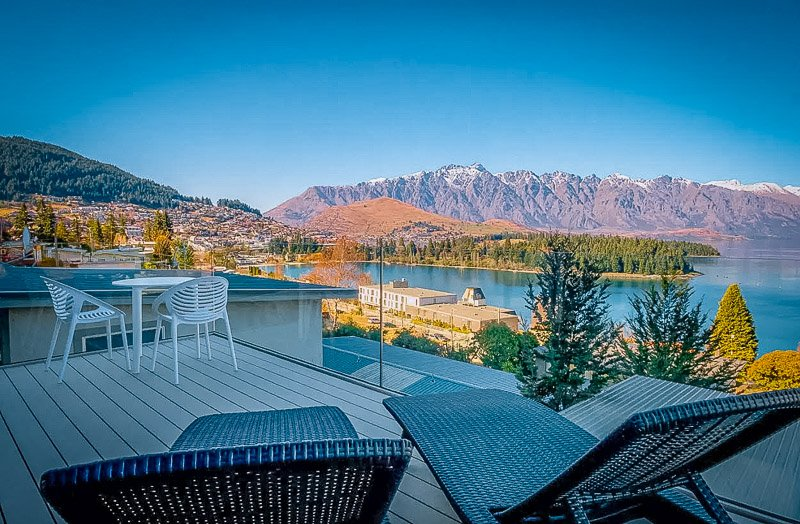 Rooftop deck with panoramic vistas of the surrounding NZ landscape