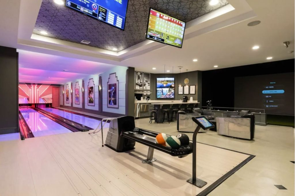 State-of-the-art bowling lanes inside the luxury Air Bnb