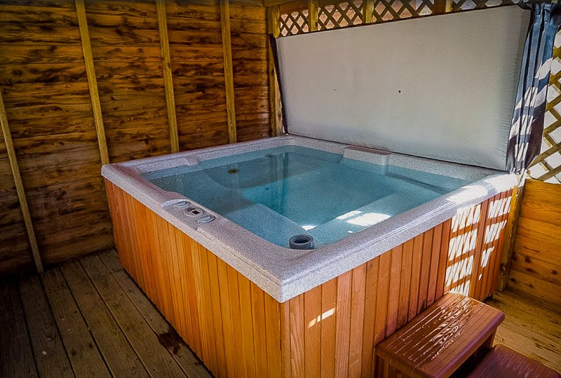 Large hot tub at the New River Gorge rental in WV