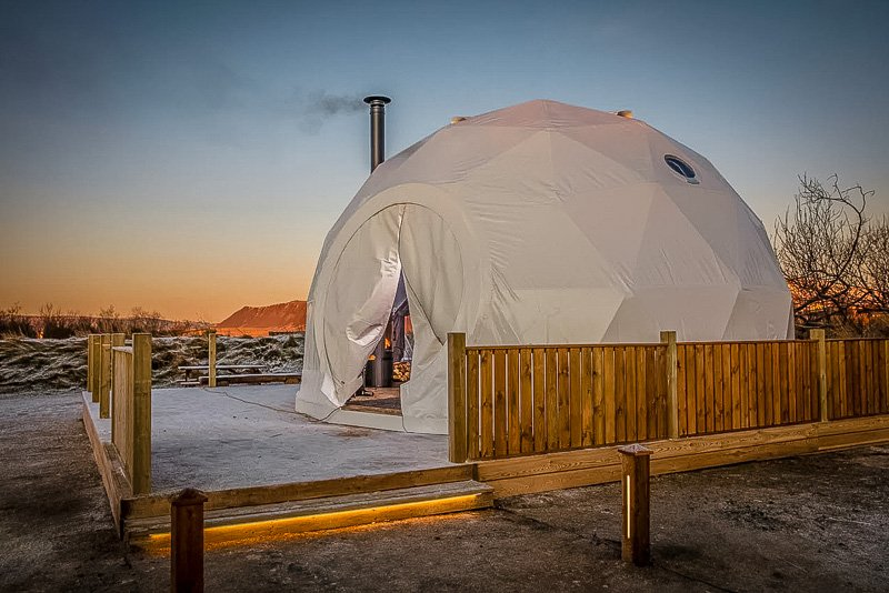 A dome-style vacation rental in Iceland that resembles an igloo