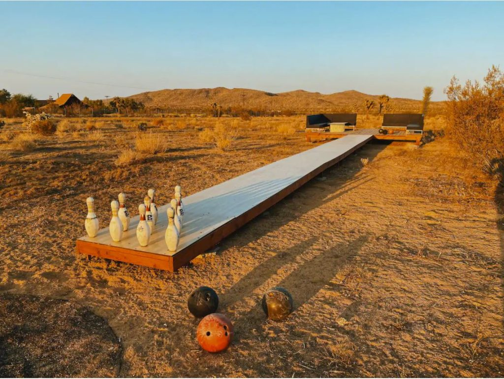 Outdoor bowling lane in the desert of California