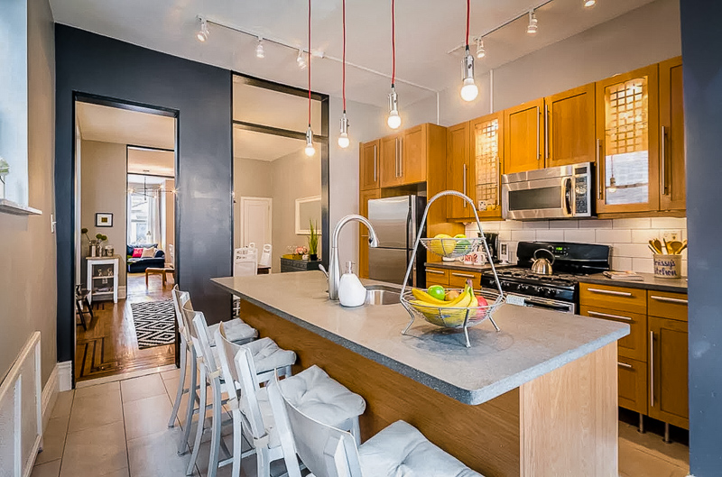 Expansive kitchen area with plenty of seating