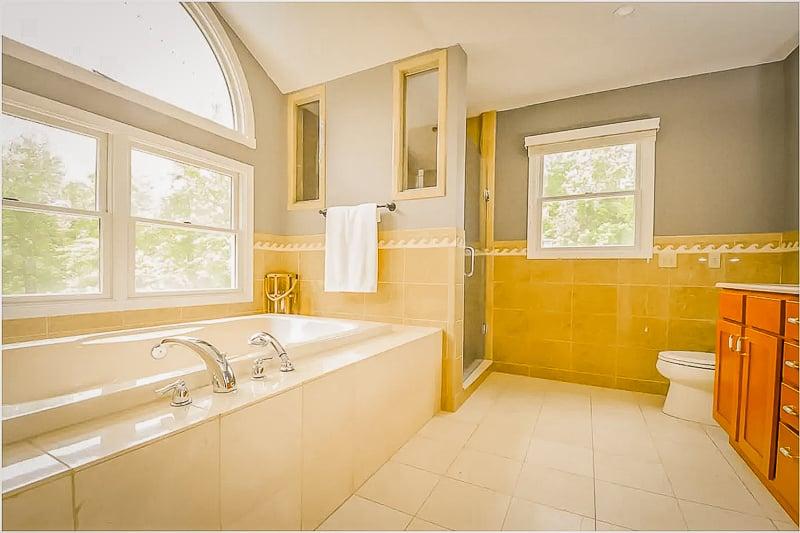 Bathroom with large tub