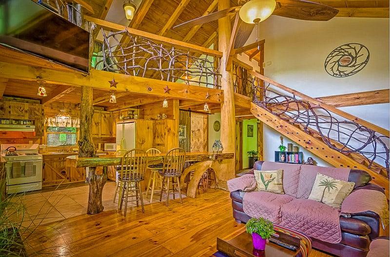 Rustic log cabin interior living space