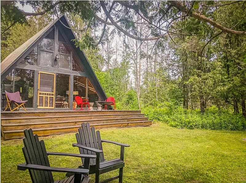 A-frame luxury cabin rental in the Midwest