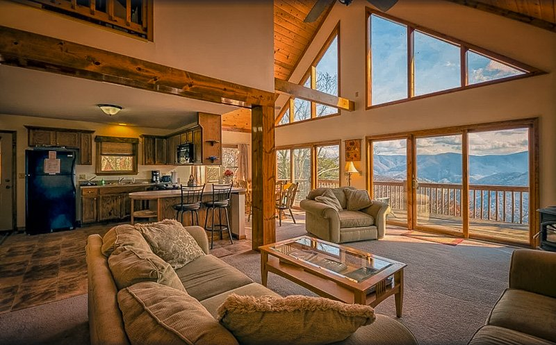 Living room with stunning views of West Virginia's mountains