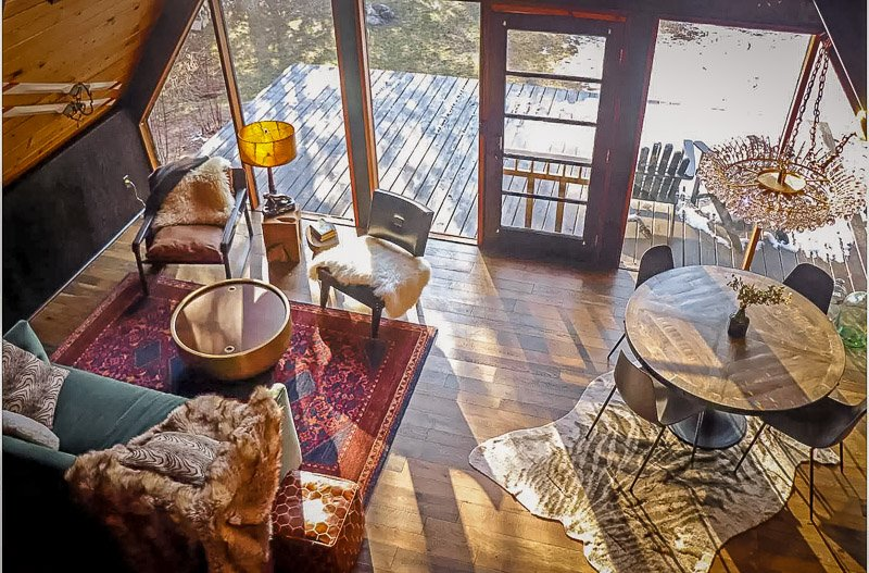Rustic furniture and fixtures inside the Midwest vacation rental