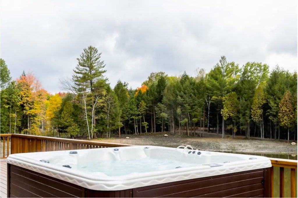 Hot tub overlooking the Michigan wilderness