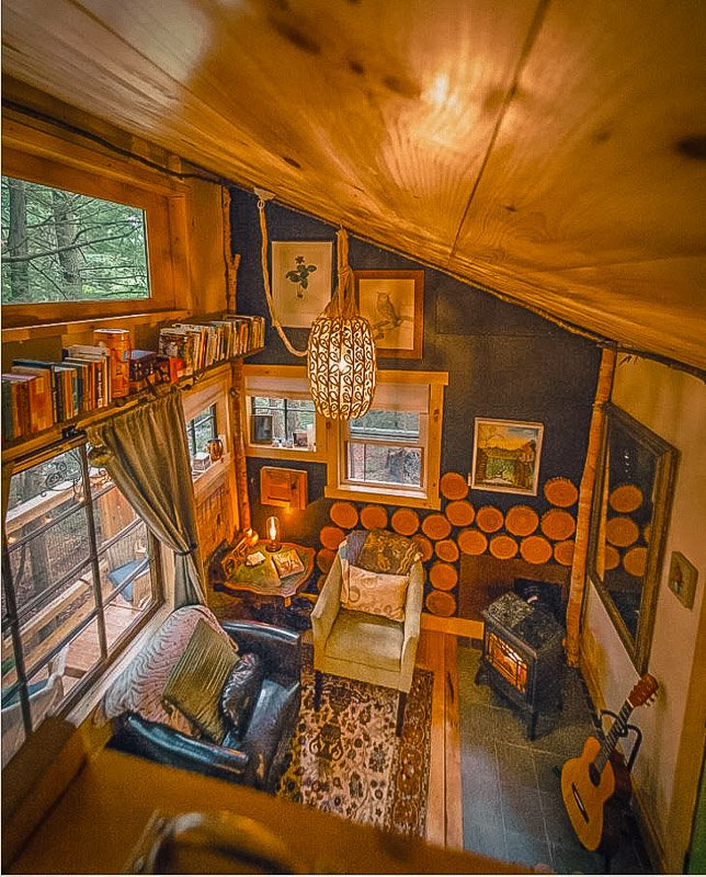 The inside of this New England vacation rental is incredibly cozy and picturesque