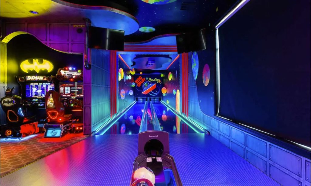 Indoor bowling alley inside the entertainment arcade room