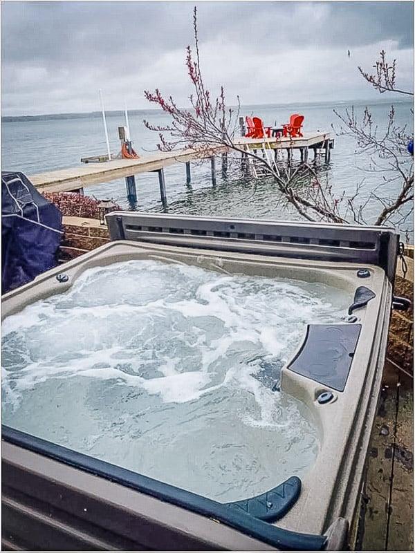 Jacuzzi with breathtaking views of Seneca Lake