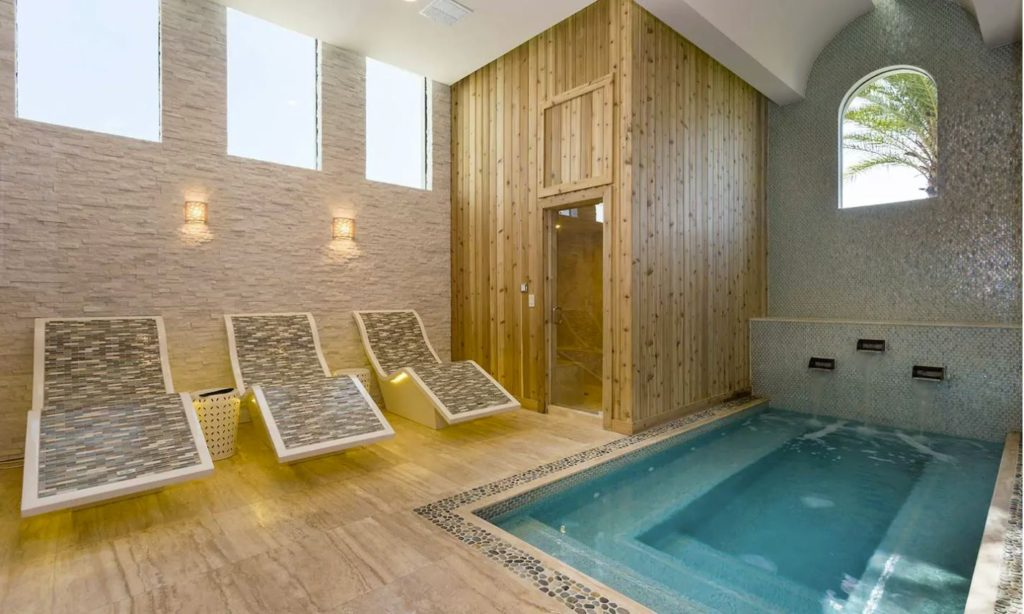 Indoor spa area with lounge seating