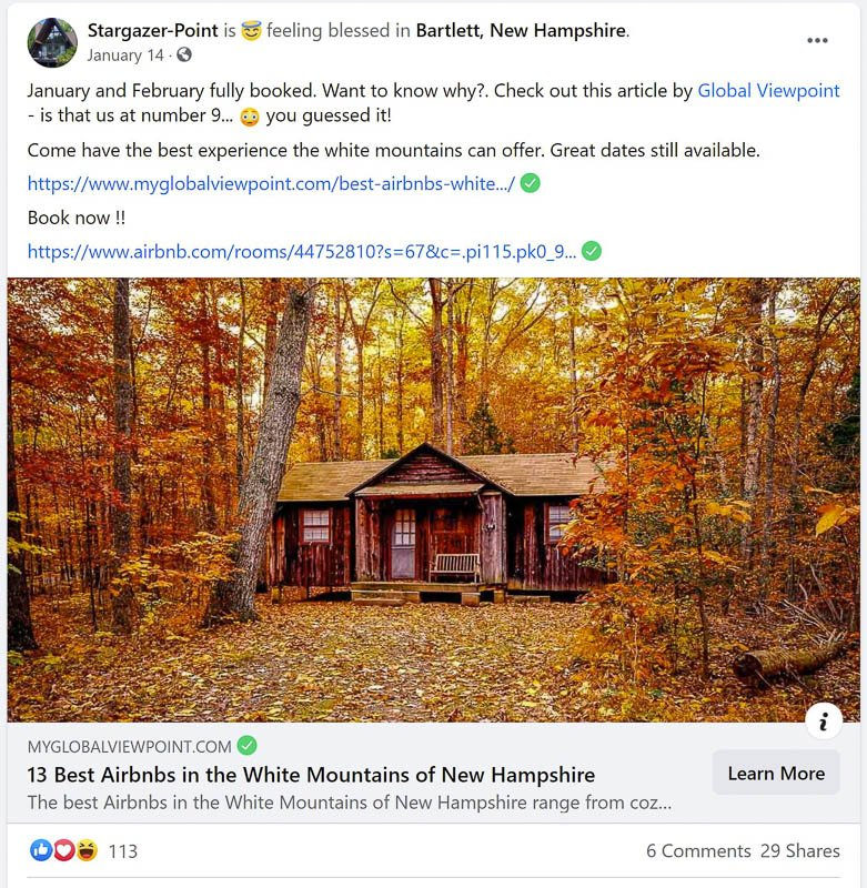 Airbnb host tips for a mountain vacation rental in the woods