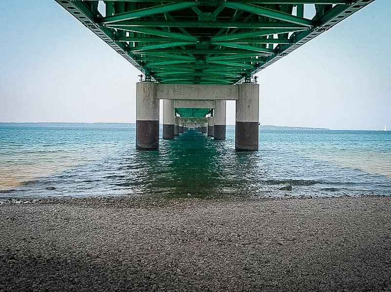 Beneath Mackinac Bridge
