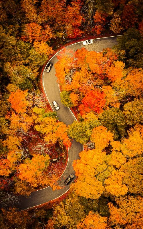 A bird's eye view of Smuggler's Notch in Vermont