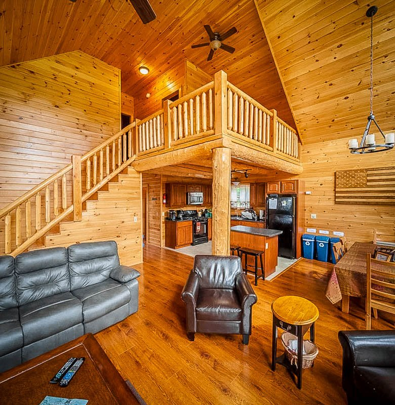 Wooden cabin vibes inside this NH vacation rental