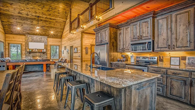 Luxury cabin decor and rustic fixtures