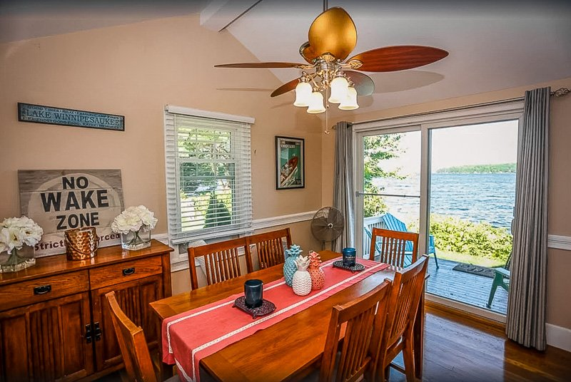 Dining room with a view of the waterfront.