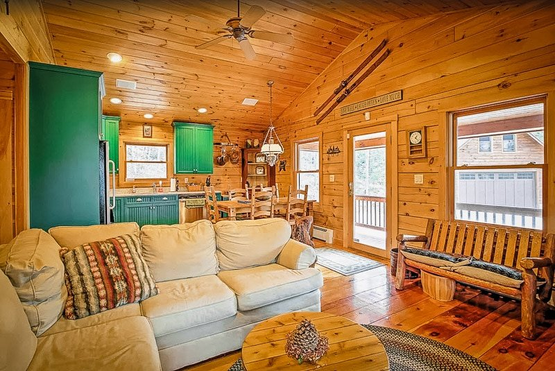Living room with rustic furniture decor