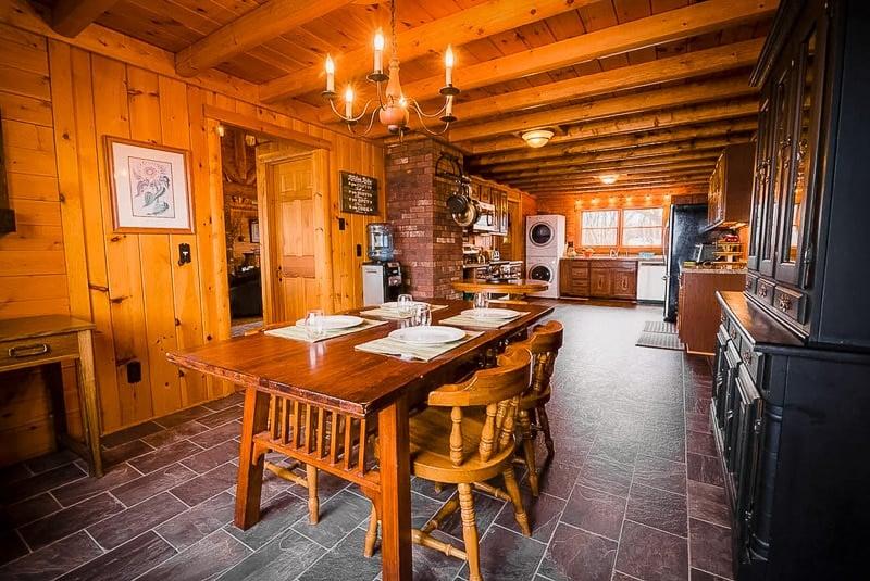 Rustic lodge-style interior decor