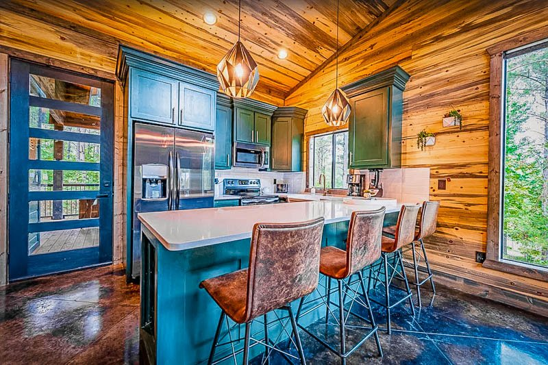 Kitchen and dining area inside this OK cabin rental