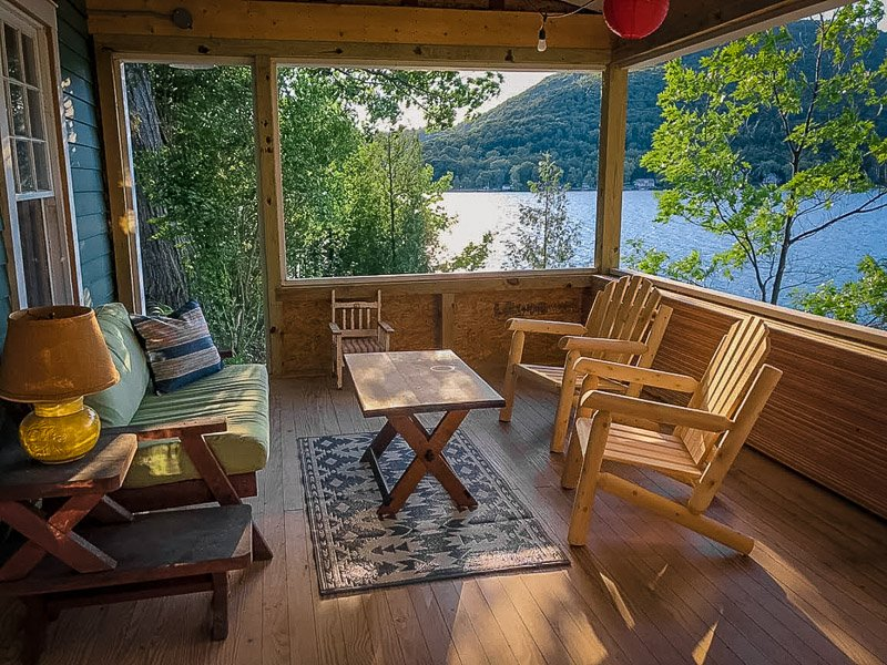 Waterfront views from this beautiful vacation rental on a lake.