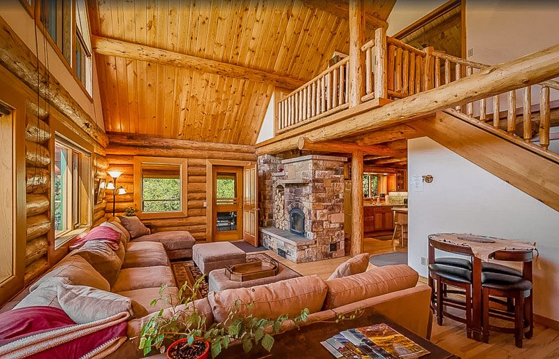 Log cabin interior living space in the heart of MT
