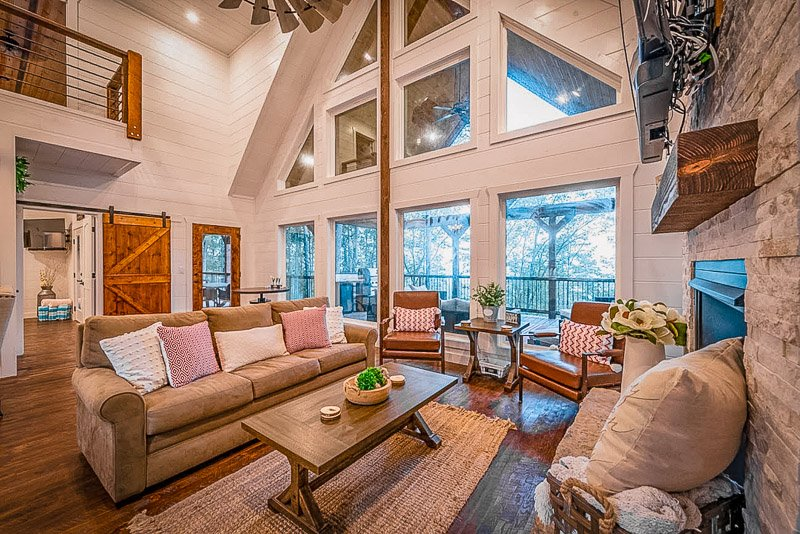 Luxurious layout and furniture inside this OK vacation rental