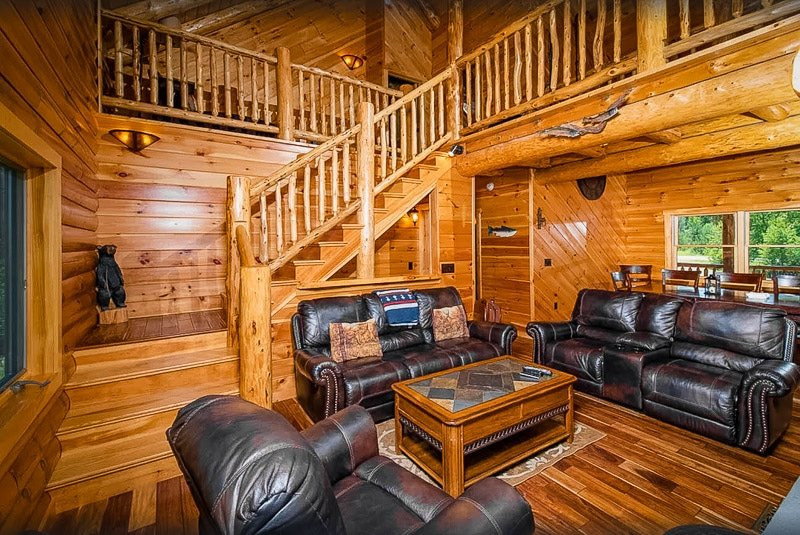 Cozy furniture and log cabin decor