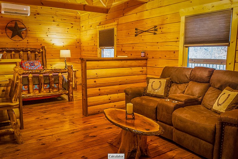Rustic log cabin layout and decor.