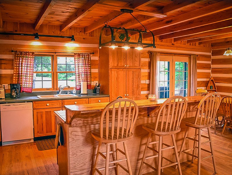 Fully equipped kitchen inside this OH log cabin rental.