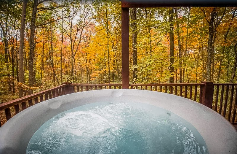 This vacation home is among the best cabin rentals in Indiana with hot tub