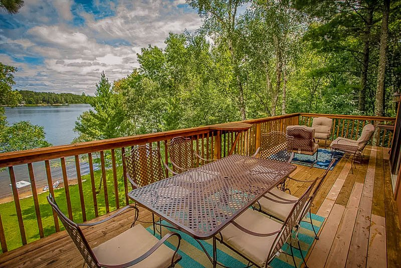 Outdoor deck with views of the lake