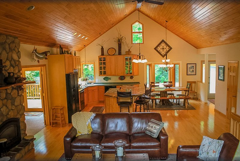 Rustic chalet-style interior layout