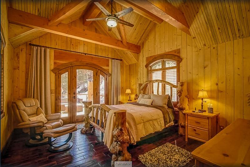 Master bedroom inside a lodge for rent in Utah