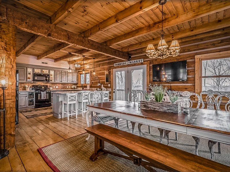 Luxury kitchen and dining rooms in an open-space layout