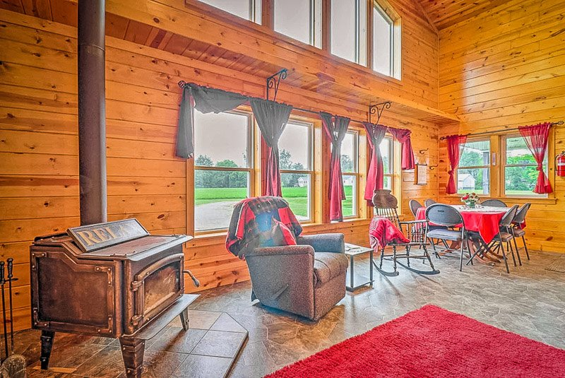 Rustic interior furnishings inside one of the best Indiana vacation cabins