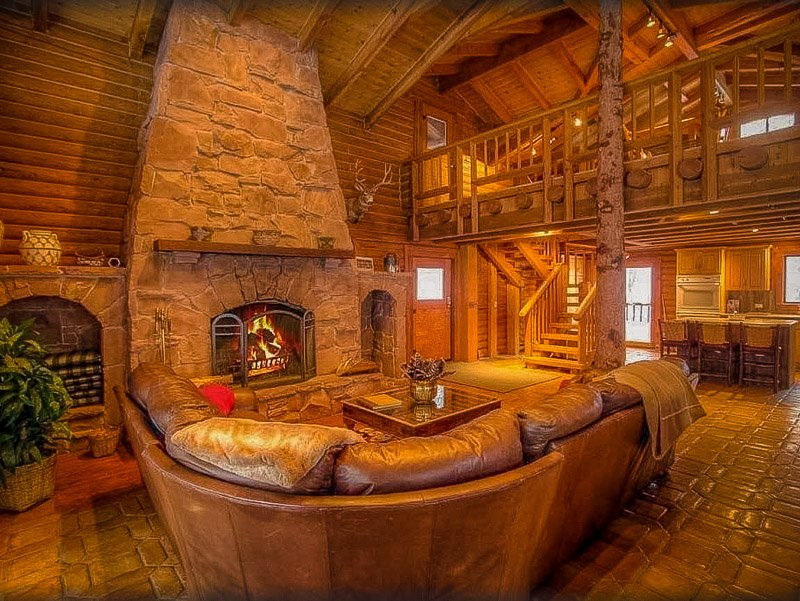 Log cabin style decor with warm indoor fireplace