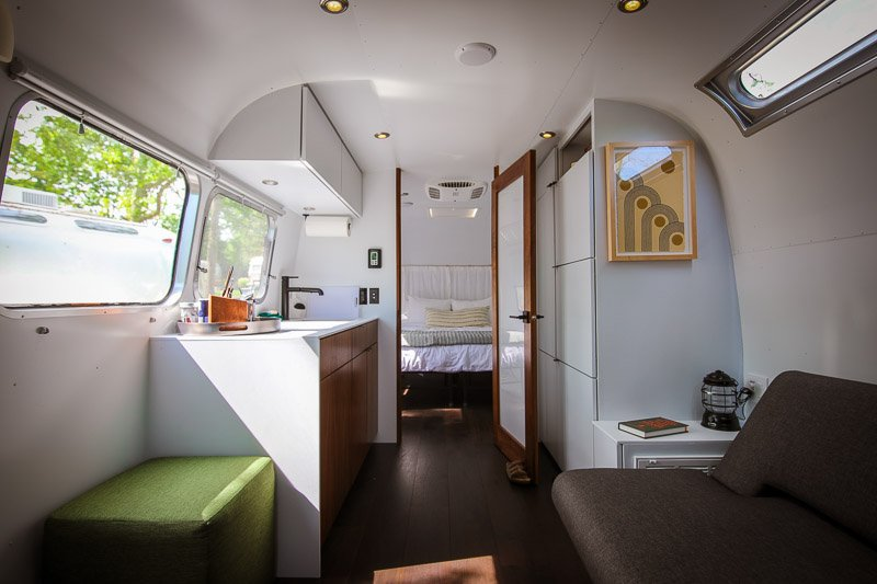Inside the airstream.