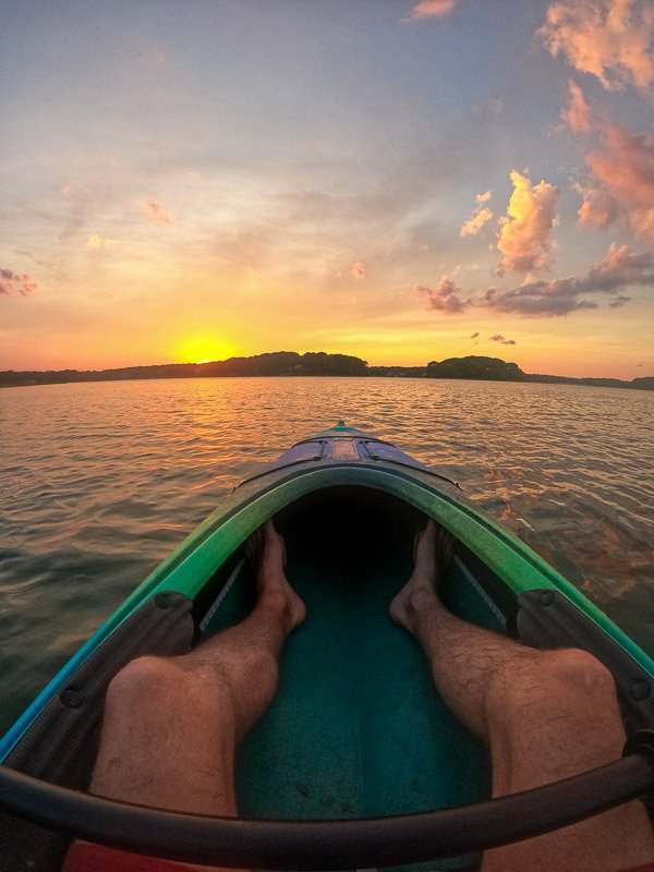 Chasing the sunset from a kayak.