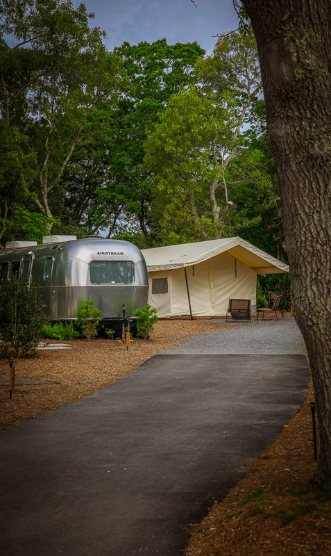 Airstream and luxury tent at AutoCamp Cape Cod.