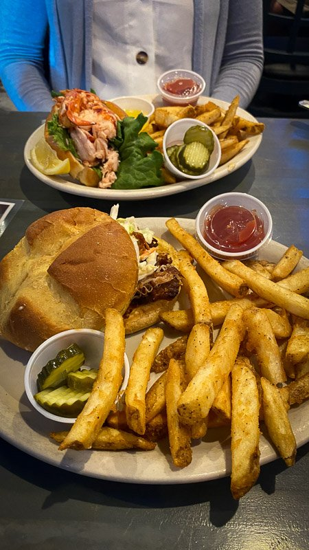 Pulled pork and lobster roll dishes