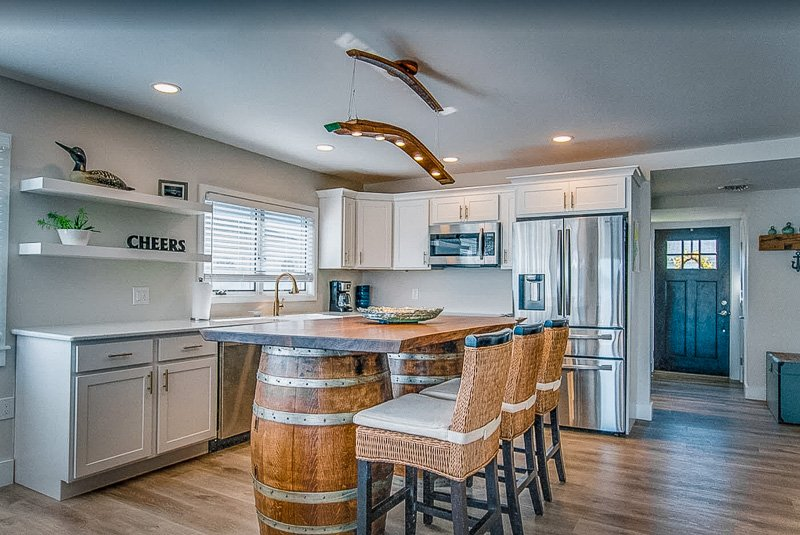 Kitchen and dining space inside this NY vacation home