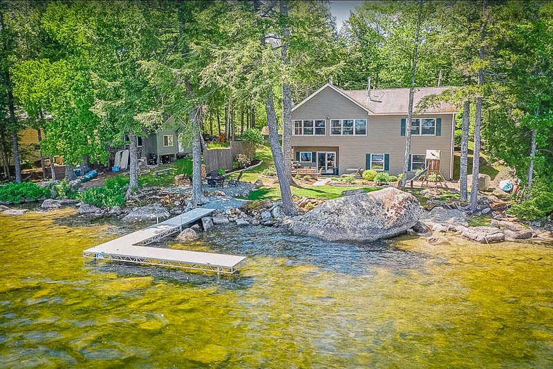 This lakeside rental in Maine is perfect for large groups of family/friends