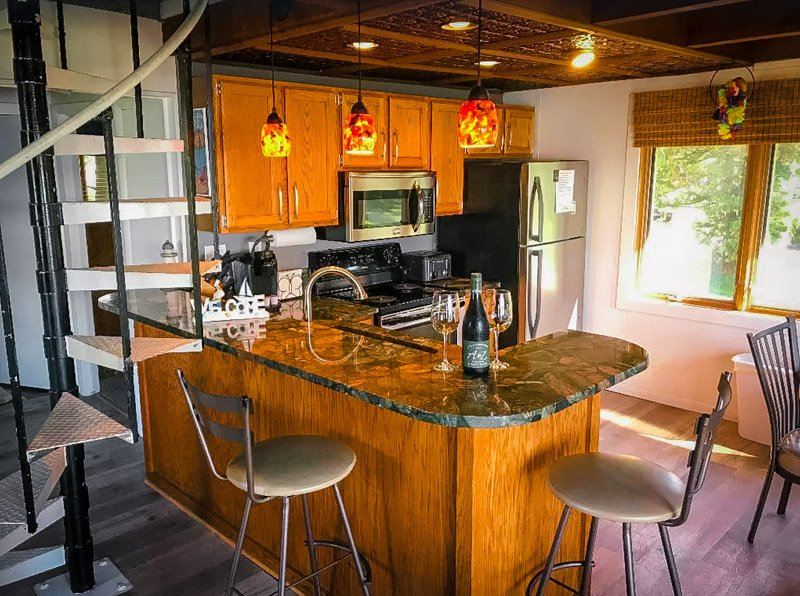 The cabin comes with its own kitchenette/bar